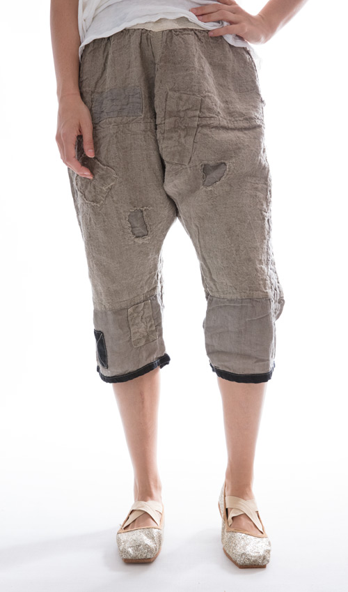 Oliana Pants with Back Tie, Side Buttons, Patches, and Decorative Stitching - Magnolia Pearl