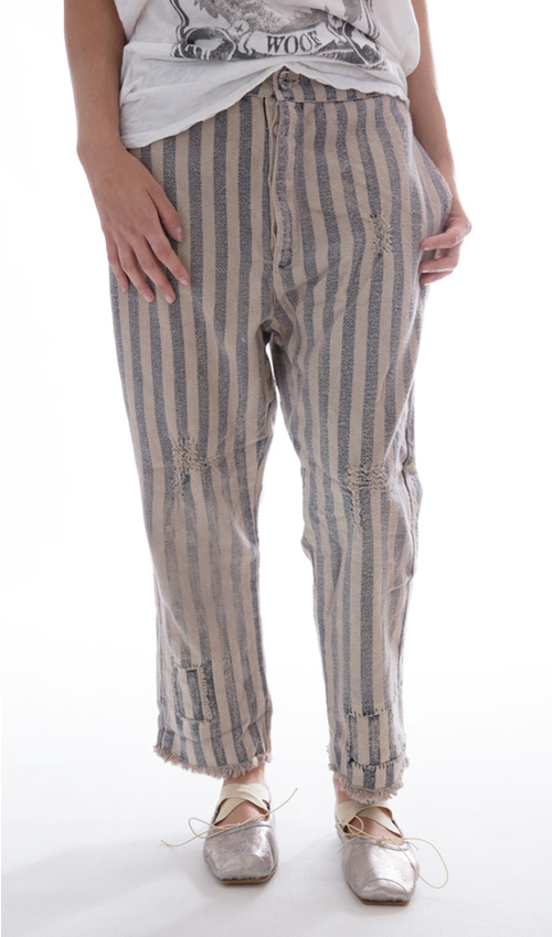 Cotton Sid Pants with Drawtring Waist, Button Front, Hand Stitching and Mending - Magnolia Pearl