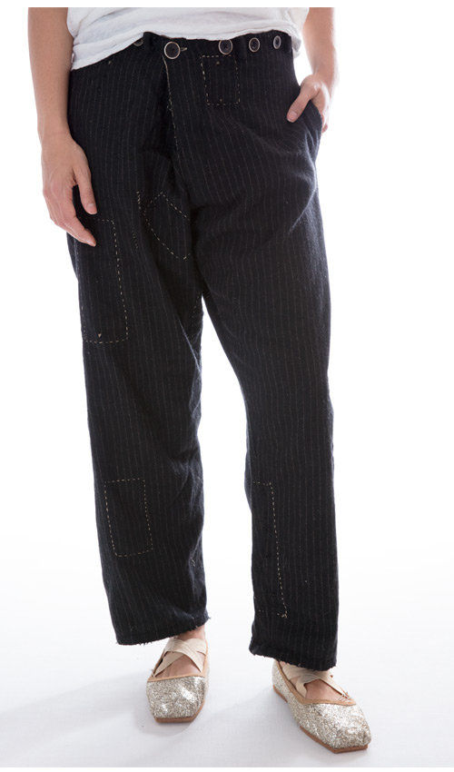Devereux Trousers with Hand Stitched Mending and an Adjustable Fold Over Waist