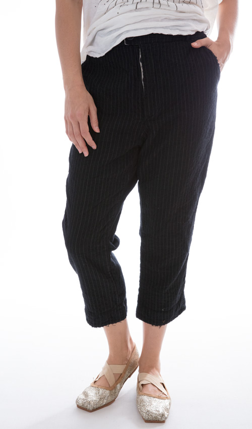 Fine Wool Violet Pants with Cotton Lining, Magnolia Pearl