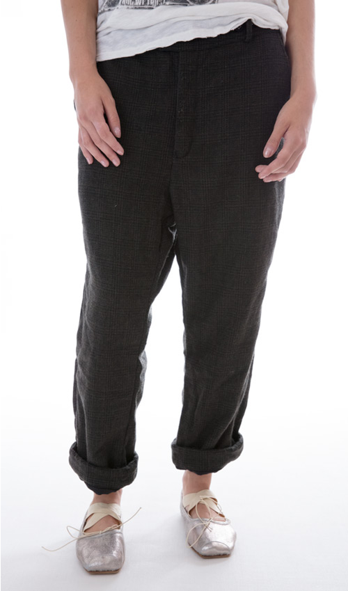 Plaid Fine Wool Holmes Pants with Cotton Linin, Magnolia Pearl