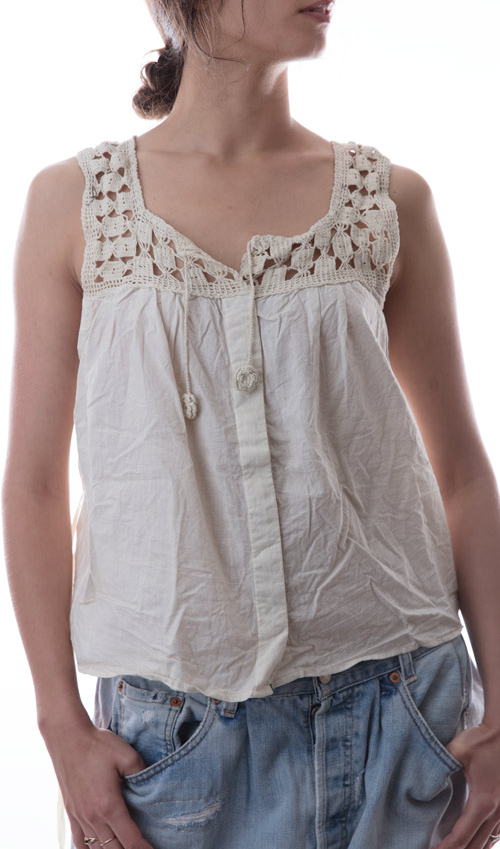 European Cotton Eira Tank with Hand Crocheted Yoke, Hand Sewn Antiqued Snaps and Shell Button on Front