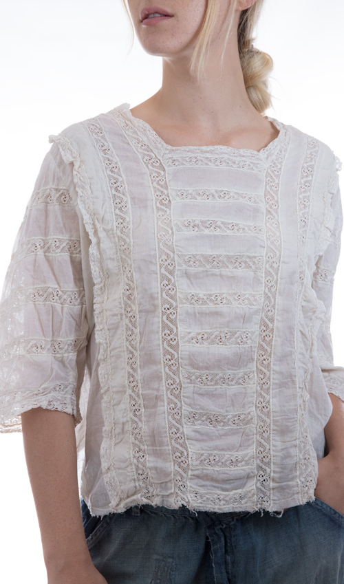 European Cotton Monarch Blouse with Cotton Lace Inserts, Three Quarter Sleeves, and Antiqued Snaps in Back