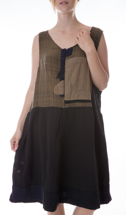 Wool and Cotton Ynez Smock Dress with Hand Stitched Patches and Mending
