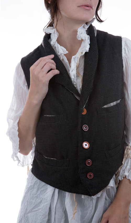 Plaid Fine Wool Holmes Vest with Cotton Lining