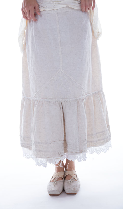 French Cotton Carina Skirt with Cotton Voile Slip with Embroidery - Magnolia Pearl