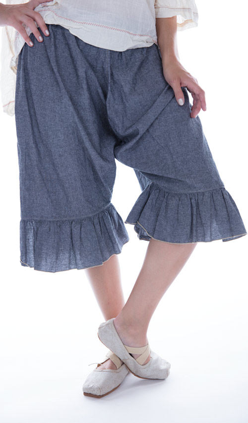 Cotton Chambray Gweny Knickers with Elastic Waist and Ruffle - Magnolia Pearl