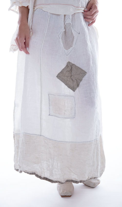 Linen Celestyna Skirt with Side Tie Waist and Patches - Magnolia Pearl