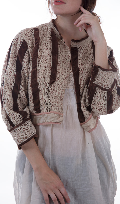 Cotton Lace and Velvet S. Dali Jacket with a Cotton Silk Lining and Hook and Eye Closures