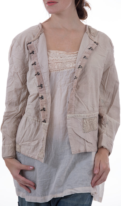 Cotton and Velvet Good Bones Jacket with Cotton Laces, Antiqued Hook and Eyes, Hand Mending and Distressing
