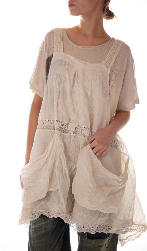 European Cotton Embroidered Elli Faye Apron with Lace Details and Oversized Pockets, Magnolia Pearl
