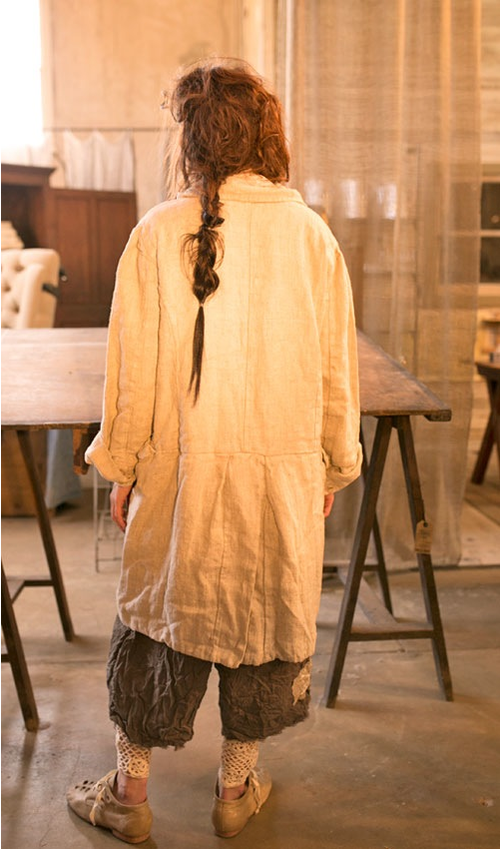 Thick Linen Heedi Jacket with Lining and Pockets in Oatmeal