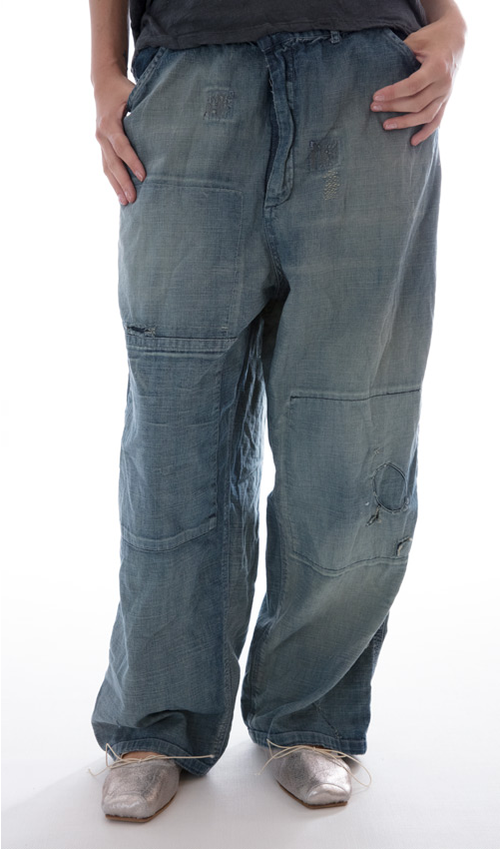 Hand Aged, Distressed and Mended Brit Denims, Zip Fly and Adjustable Button Waist, Front and Back Pockets
