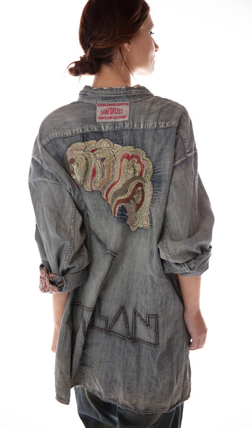 Cotton Denim Embroidered Bard Adison Workshirt with Mixed Buttons, Distressing, Patching and Hand Mending, Magnolia Pearl