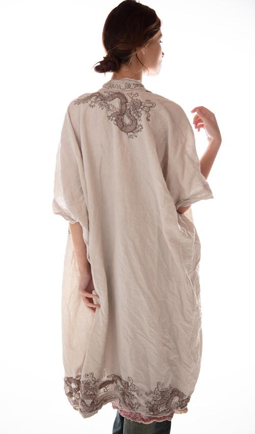 European Linen Dragon Embroidered Dashi Kimono with Fading and Distressing, Magnolia Pearl