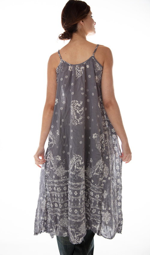 Cotton Silk Audrey Hand Block Print Slip with Adjustable Thin Straps, Raw Edges and Seams, Pockets