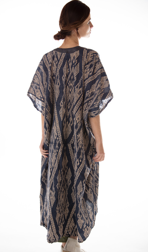 Linen Veda Kaftan with Silk Details at Neck, Distressing, Fading and Mending, Magnolia Pearl