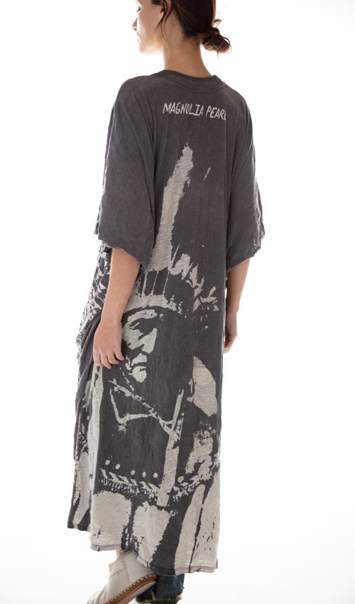 Cotton Jersey Geronimo Veda Kaftan with Distressing and Mending, Magnolia Pearl