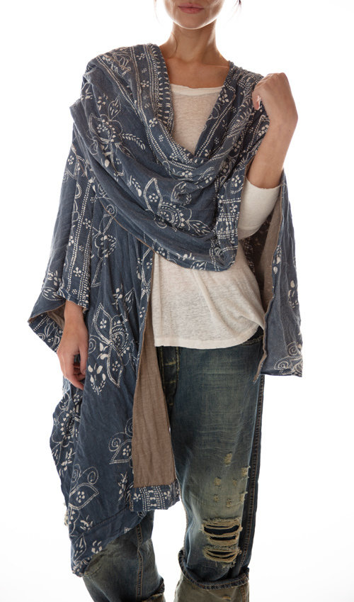 Cotton Jersey Native American Graphic Melissa Scarf Shawl, Double Sided, Magnolia Pearl