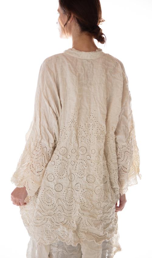 European Linen Embroidered Eyelet Cleo Short Kimono, Magnolia Pearl