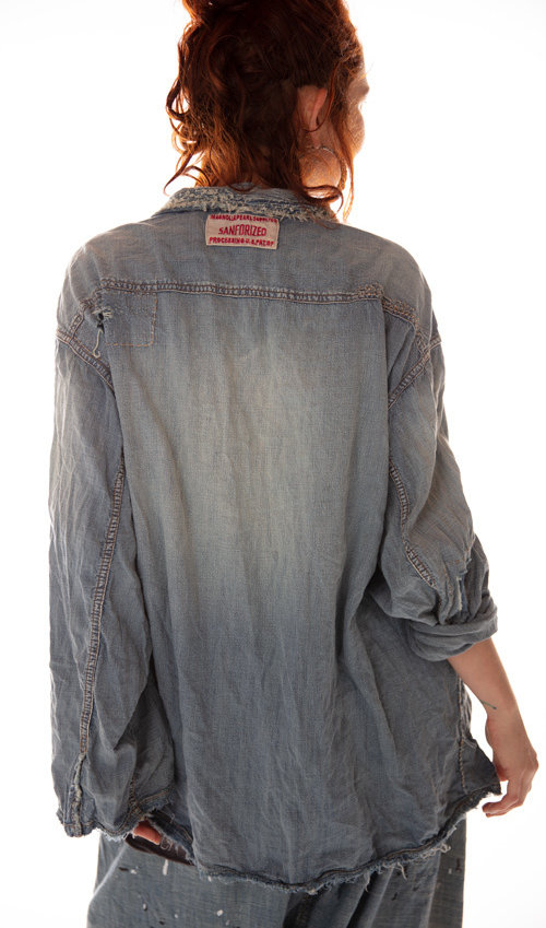 Cotton Denim Dakotah Pullover with Patches, Distressing and Mending, Magnolia Pearl