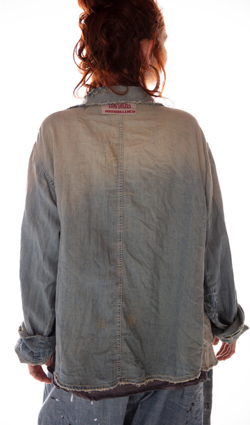 Cotton Denim Aelvoet Workwear Jacket with Mending, Distressing and Patching, Magnolia Pearl