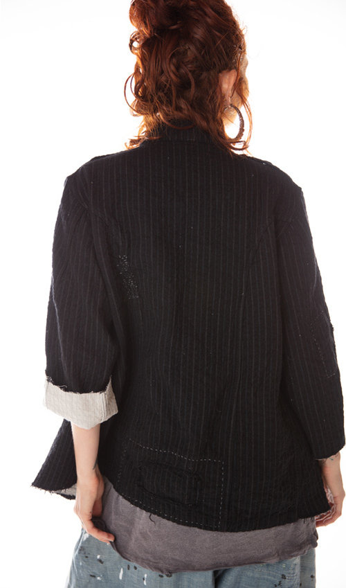 Fine Wool Love Militia Coat with Cotton Quilted Lining and Raw Edges, Magnolia Pearl