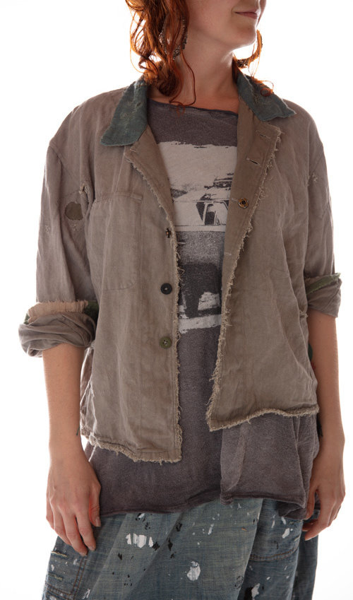 Cotton Twill Hey Joe Jacket with Cotton Linen Collar, Patching, Mending, Distressing and Mixed Buttons, Magnolia Pearl