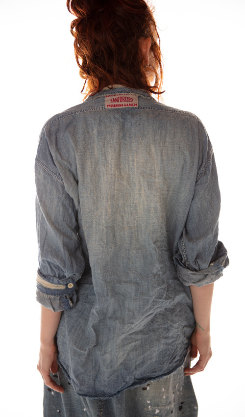 Cotton Denim Cole Chambray Shirt with Fading, Patching, Mending and Distressing, Magnolia Pearl