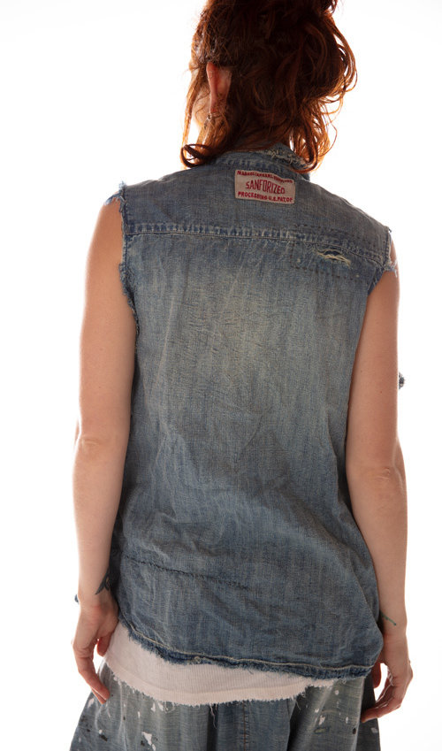 Cotton Utility Vest with Hidden Button Placket, Gusseted Pockets, Mending and Distressing, Magnolia Pearl