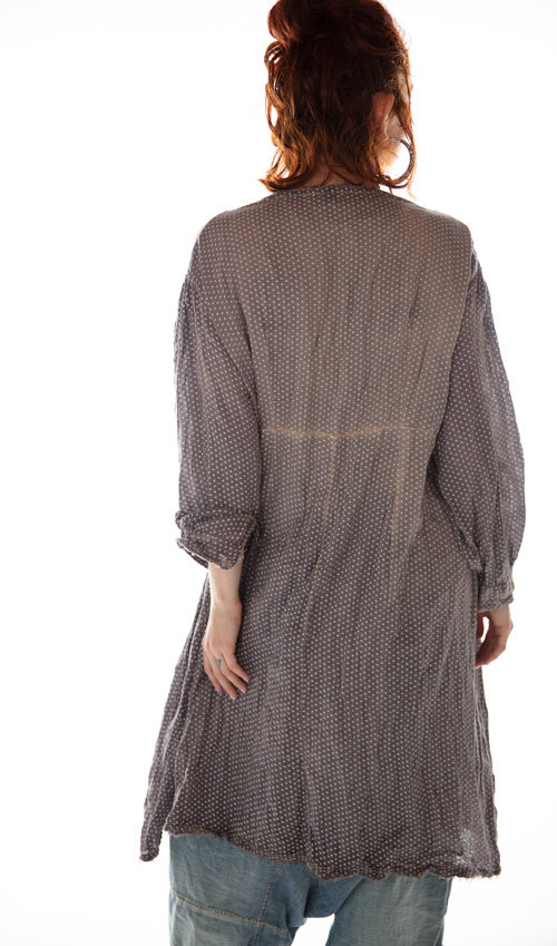 Cotton Twill St Anny Smock Dress with Lace Detailing and Buttons, Sunfading and Distressing, Magnolia Pearl