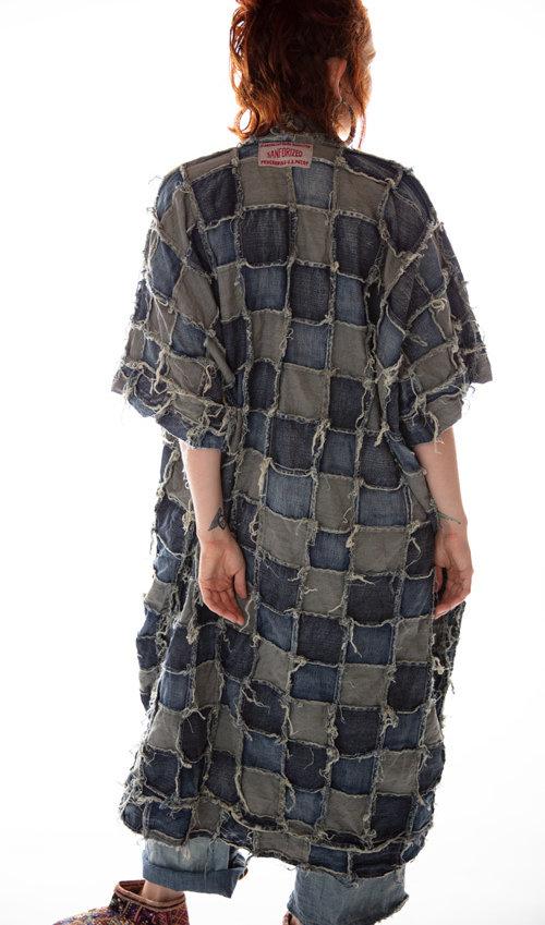 Cotton Patched Denim Dashi Kimono with Raw Edges, Magnolia Pearl