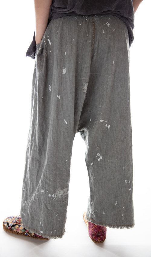 Cotton Denim Gus Trousers with Patching, Mending and Distressing, Magnolia Pearl