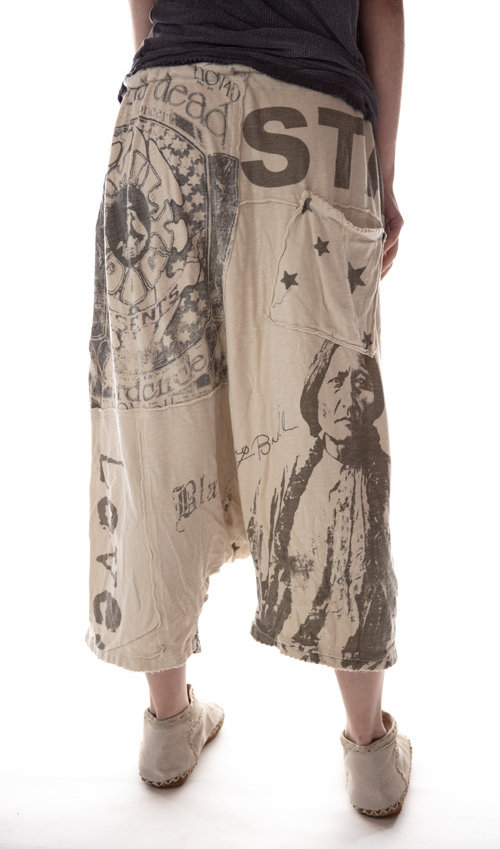 Cotton Jersey Art Graphic Frankie Pants with Distressing and Mending, Drawstring Waist, Magnolia Pearl