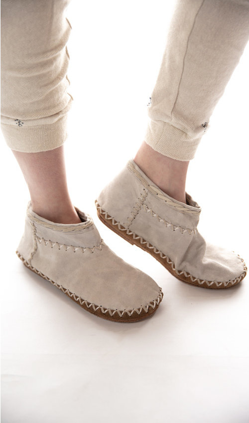 All Leather Sedona Moccasins with Hand Detailing, Magnolia Pearl