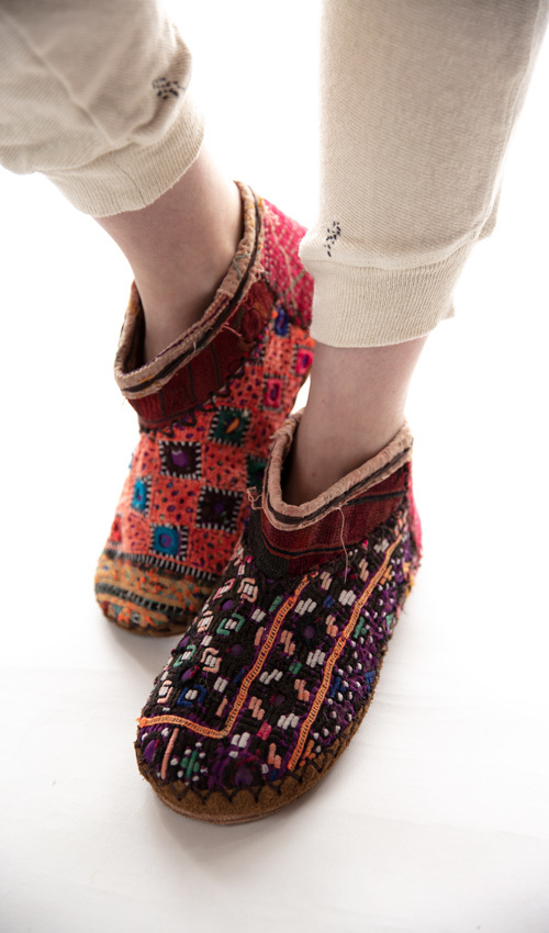Vintage Ethnic Textile Sedona Moccasins with Leather Lining and Hand Stitching Details, Magnolia Pearl