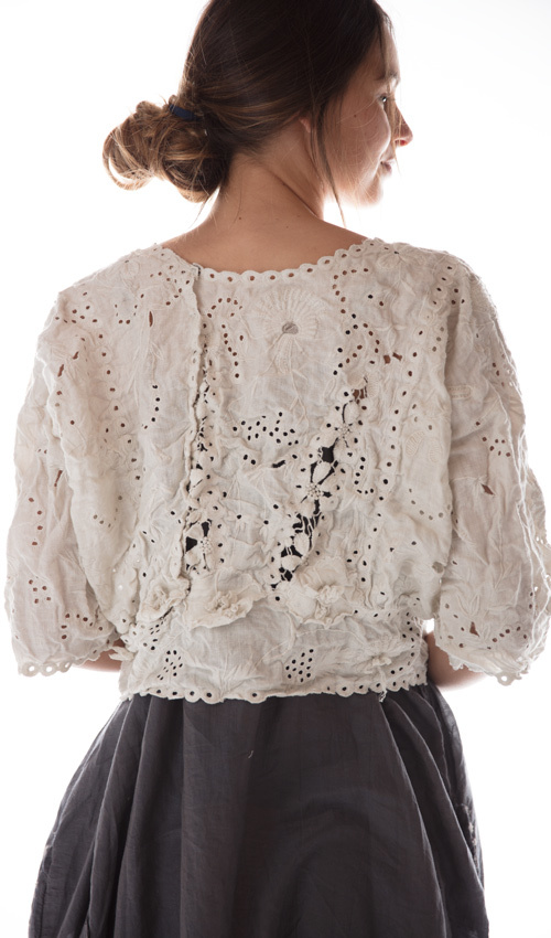 French Linen Coronado Blouse with Embroidery, Scalloped Edging and Snaps at Back, Magnolia Pearl
