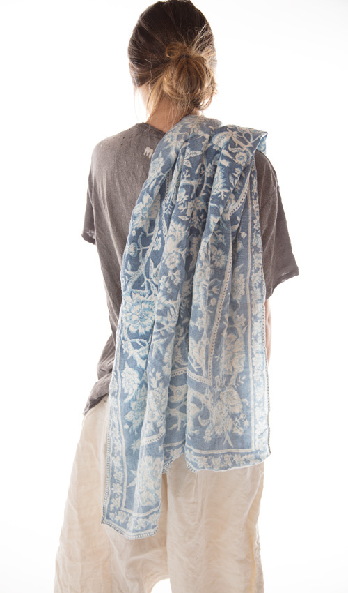 Hand Printed Linen Scarf with Sunfading, Magnolia Pearl
