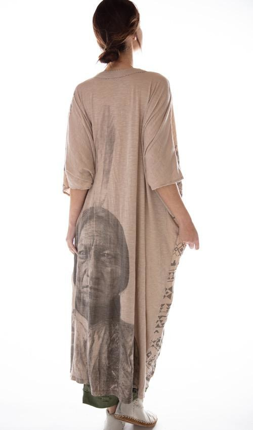 Cotton Jersey Sitting Bull Veda Kaftan with Distressing, Mending, Magnolia Pearl