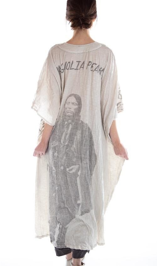 Cotton Jersey Quanah Parker Veda Kaftan with Distressing and Mending, Magnolia Pearl