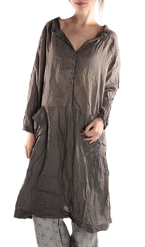 Thin Cotton Twill Cara Smock Dress with Black Hand Stitching, Snaps at Front, Pockets, Mending and Sun Fading
