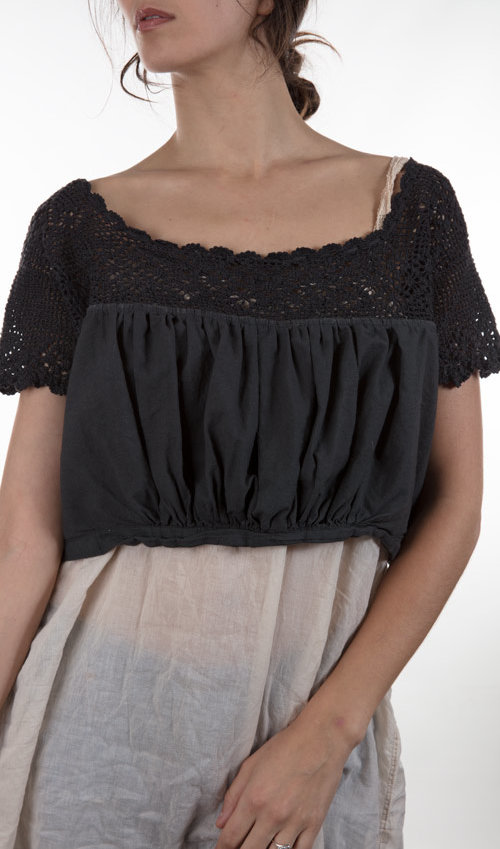 European Cotton Korah Overtop with Crochet Yoke and Buttons Down the Front