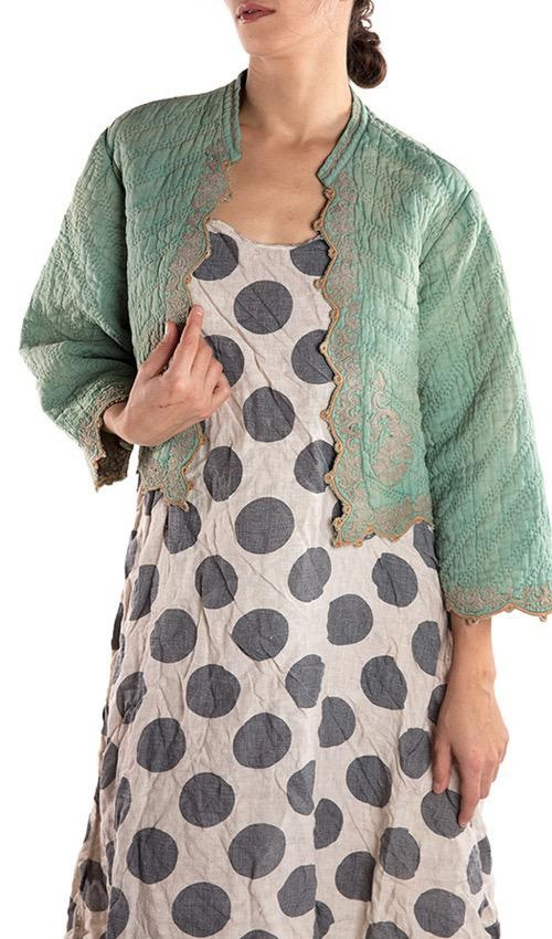 Quilted European Linen Sasha Jacket with Flax Embroidery and Scalloped Edges, Sun Faded and Floral Lining