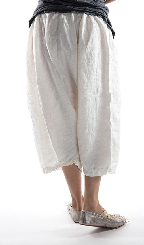 European Linen Chamomile Side Button Pant with Embroidered MP and Floral, Adjustable Waist