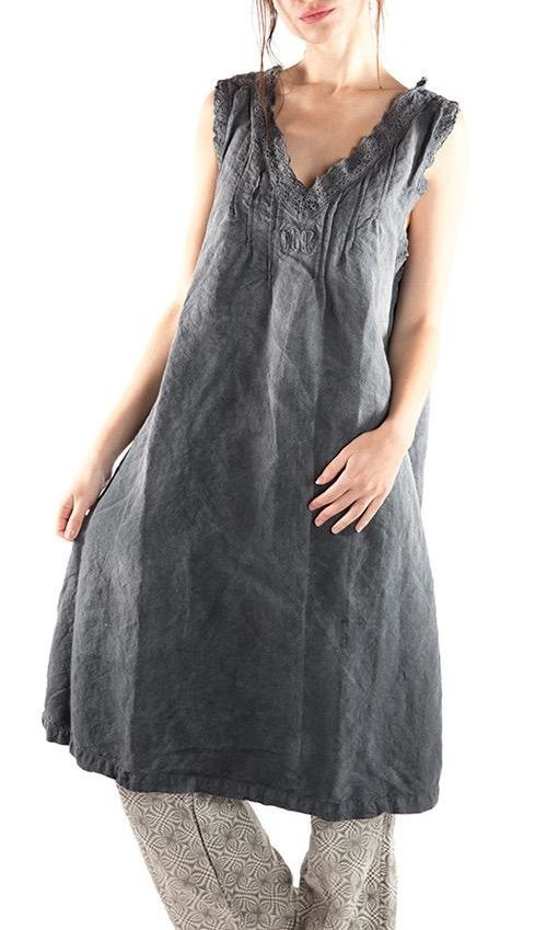European Cotton Linen Oksana Smock Dress with Eyelet Trim, Pleats and MP Monogram