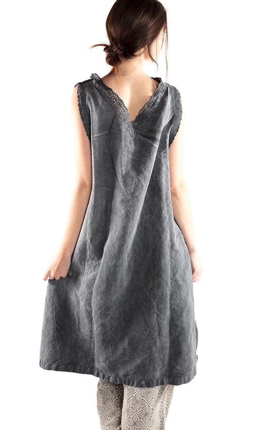 European Cotton Linen Oksana Smock Dress with Eyelet Trim, Pleats and MP Monogram