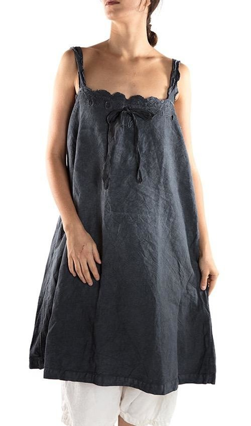 French Linen Cosi Belle Dress, with Eyelet Openwork, Magnolia Pearl Monogram and Silk Drawstring