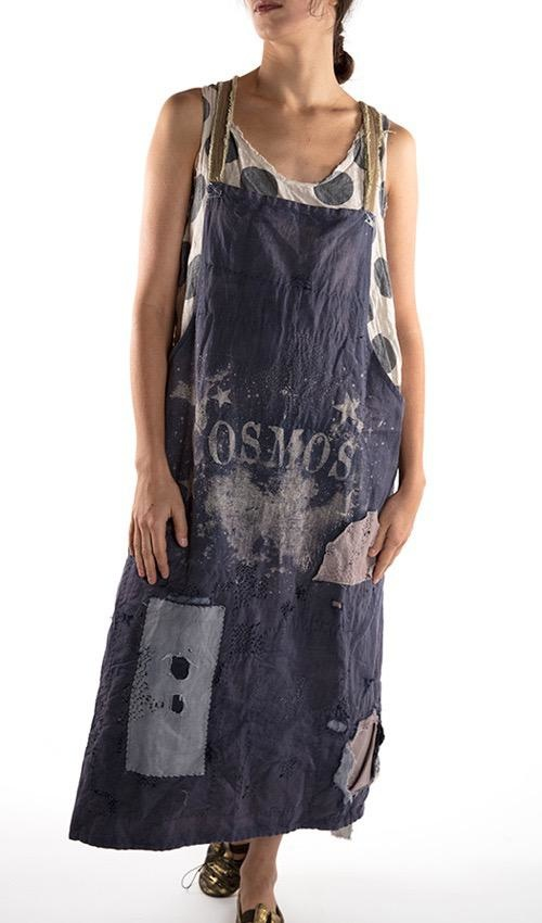 Cotton Linen Metalworker's Apron with Flannel and Cotton Repairs, Hand Mending, and Linen Straps, Cosmos Print
