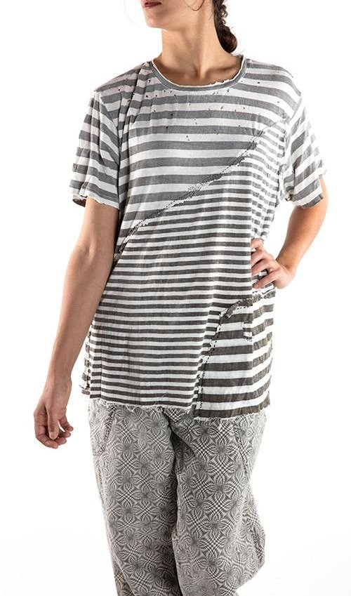 Cotton Jersey Uniform T, New Boyfriend Cut, with Hand Distressing, Mending, and Patching