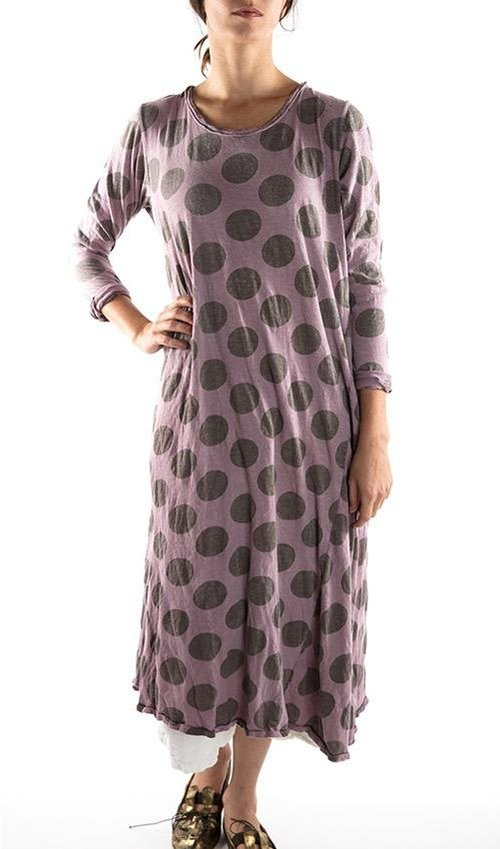 Cotton Jersey Dylan T Dress with Hand Distressing and Mending, Magnolia Pearl